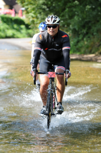 "Chris Hodgson from Stokenchurch, Buckinghamshire, rides the ford at Twyford. Picture courtesy of ""Sportive Photo"""