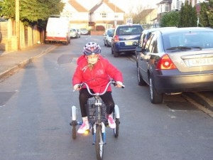 Niamh with her first trike from Cyclists Fighting Cancer